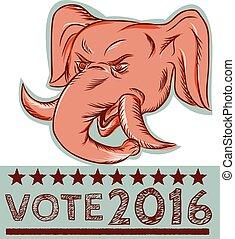 voto, cauterizando, cabeça elefante, republicano, mascote, 2016