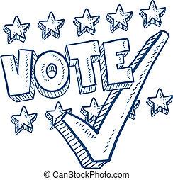 voto, con, marca de verificación, bosquejo