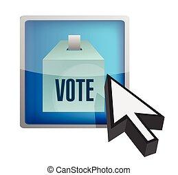 voto, conceito, desenho, ilustração, online