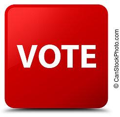 voto, cuadrado rojo, botón