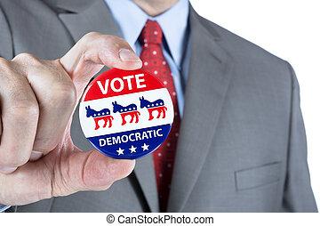 voto, democrático, alfiler
