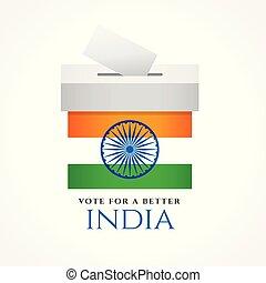 voto, diseño, bandera, concepto, india