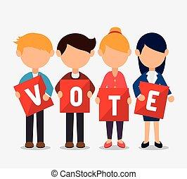 voto, disegno, cartone animato, elezioni