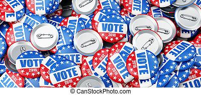 voto, elección, insignia, botón, para, 2016, plano de fondo,...