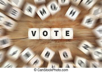voto, elección, política, dados, concepto de la corporación mercantil