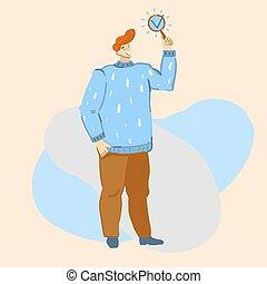 voto, esposizione, uomo, lista, o, segno., questionnaire., cartone animato, illustrazione, fatto, pronto, assegno, vettore