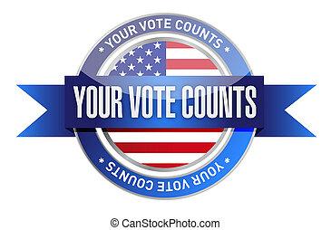 voto, estampilla, sello, condes, su, ilustración