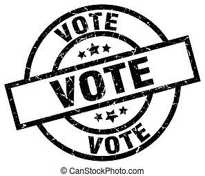 voto, grunge, negro, redondo, estampilla
