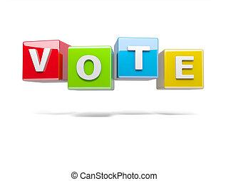 voto, inscripción, cubos, rojo