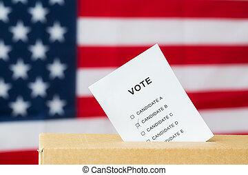 voto, insertado, en, urna electoral, ranura, en, elección