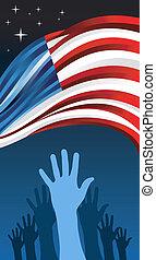 voto, mão, eleições, eua, pessoas