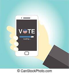 voto, móvel, mensagem, carregando