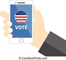 voto, móvel, mensagem