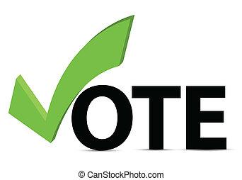 voto, marca de verificación, texto