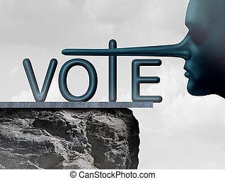 voto, mentiroso
