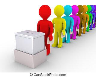 voto, muchos, sobre, línea, gente