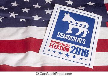 voto, norteamericano, bandera, demócrata, elección
