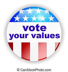 voto, norteamericano, insignia, nosotros