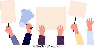 voto, participación en una elección política, vacío, vector, gente, placard., signs., blanco, tenencia, activists, banderas, elección, manos, concepto, protests