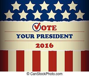 voto, presidente, 2016, seu, eua