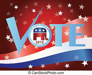 voto, republicano, 2012, con, bandera de los e.e.u.u