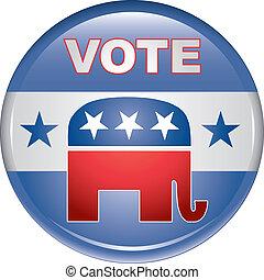 voto, republicano, botón
