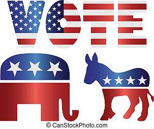 voto, republicano, elefante, e, democrata, burro, ilustração