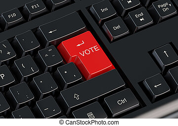 voto, rojo, teclado, botón