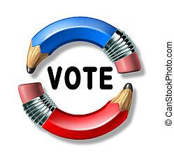 voto, símbolo, com, curvado, lápis