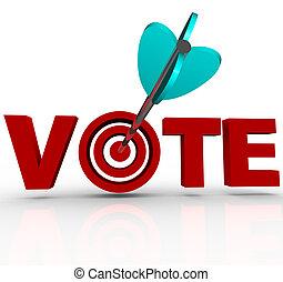 voto, seta, em, palavra, 3d, escolha objectivos, eleitores,...