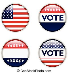 voto, stati, unito, distintivo