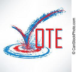 voto, texto, com, confira mark, e, caixa seleção