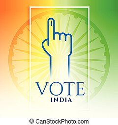 voto, tricolor, índia, fundo, mão