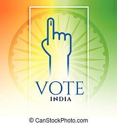voto, tricolor, india, plano de fondo, mano
