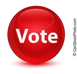 voto, vidrado, vermelho, redondo, botão