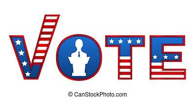 voto, votando, poster., 2020, patriótico, modelo