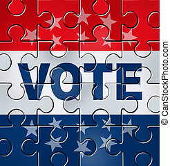 voto, y, político, organización