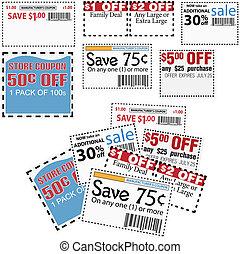 voucher, besparingar, annonser, lager, försäljning