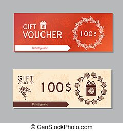 Voucher, Coupon template - Voucher, Gift certificate...