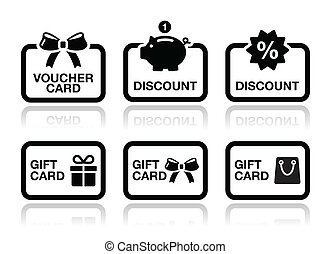 Voucher, gift, discount card vector - Shopping icons - gift...