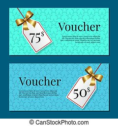 Voucher on 50 -75 Set of Posters Gold Tags Label
