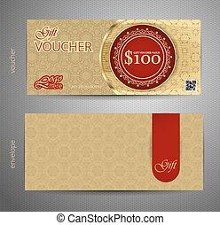 Voucher template with premium vintage pattern. vector