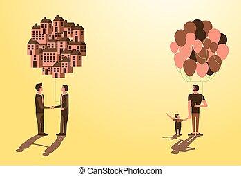 vouloir, être, homme affaires, gosse, bien, appeler, papa, balloon, idée