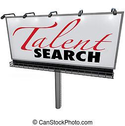 voulu, trouver, talent, panneau affichage, recherche, habile...