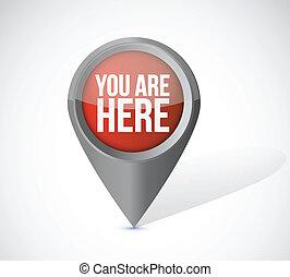 vous êtes ici, indicateur, locator, illustration, conception