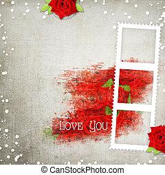 vous, aimez coeurs, texte, roses, retro, fond, rouges