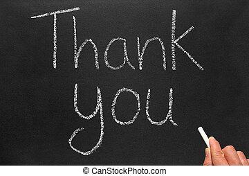 vous, blackboard., remercier, écriture