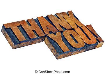 vous, bois, type, remercier, letterpess