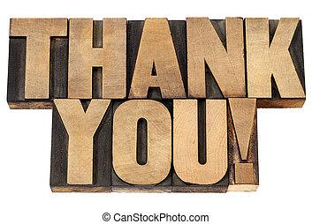 vous, bois, type, remercier, letterpress