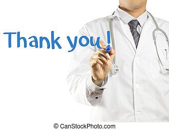 !, vous, docteur, remercier, écriture